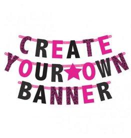 Pink/Black Customizable Letter Banner