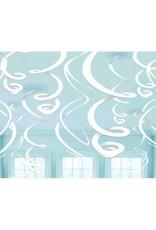 Frosty White Plastic Swirl Decorations (12)