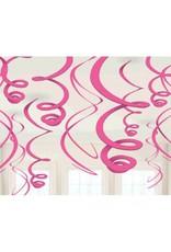 Bright Pink Plastic Swirl Decorations (12)