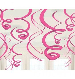 Bright Pink Plastic Swirl Decorations (12)