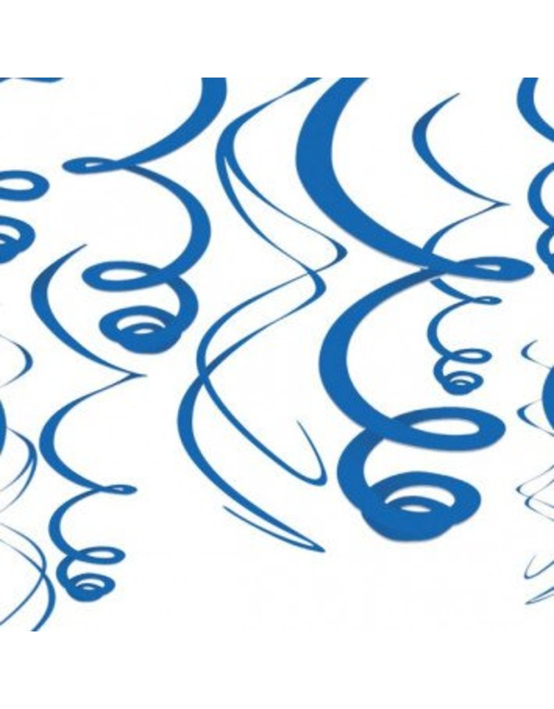 Bright Royal Blue Plastic Swirl Decorations (12)