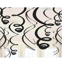 Jet Black Plastic Swirl Decorations (12)