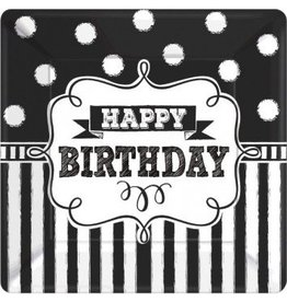 "Chalkboard Birthday Square Plates 10"" (8)"