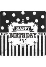 "Chalkboard Birthday Square Plates 7"" (8)"