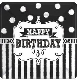 "Chalkboard Birthday Square Plates 7"" (8)"