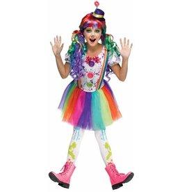 Children's Costume Crazy Colour Clown Large (12-14)