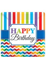 "Bright Birthday 10"" Square Plates (8)"