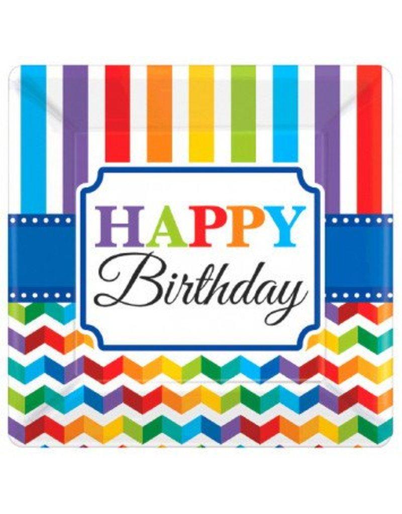 "Bright Birthday 7"" Square Plates (8)"