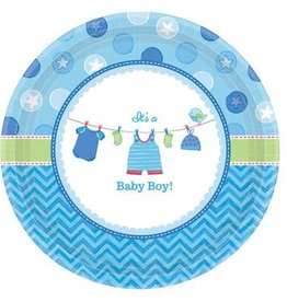 "Shower with Love Boy Round Plates 10"" (8)"