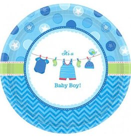 "Shower With Love Boy Round Plates 7"" (8)"