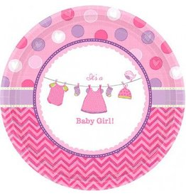 "Shower with Love Girl 7"" Plates (8)"
