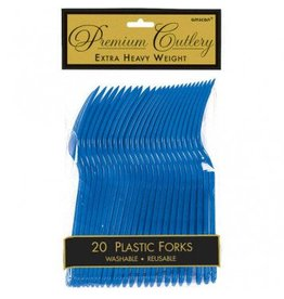 Bright Royal Blue Premium Forks (20)