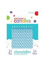 Blue Candy Stripe Spiral Candles (24)