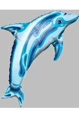 "Dolphin Transparent  Blue 37"" Mylar Balloon"