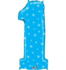 "Number One Blue Stars 38"" Mylar Balloon"
