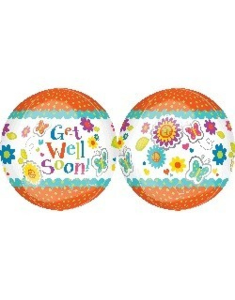 "Get Well Floral Butterfly Orbz 22"" Bubble Balloon"