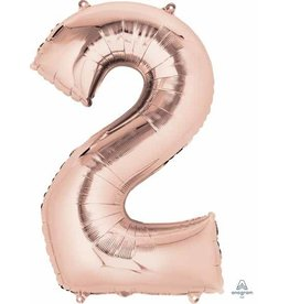 Rose Gold #2 Number Shape Mylar Balloon
