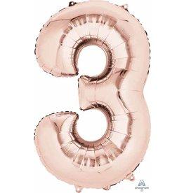 Rose Gold #3 Number Shape Mylar Balloon