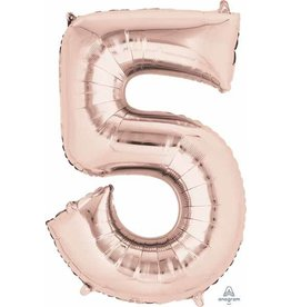 Rose Gold #5 Number Shape Mylar Balloon