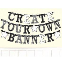 Black & White Customizable Letter Banner