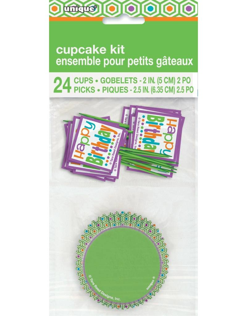 Citrus Dot Birthday Cupcake Kit (24)