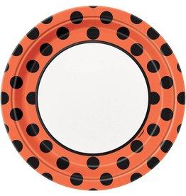 "Orange & Black Dots 9"" Plates (8)"