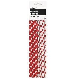 Paper Straws Red Polka Dots