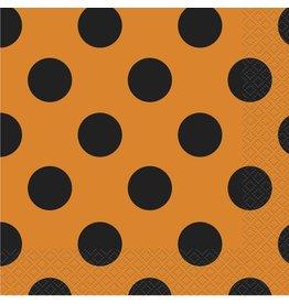Orange & Black Dots Lunch Napkins (16)