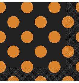 Orange & Black Dots Beverage Napkins (16)