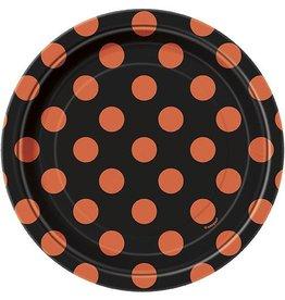 "Orange & Black Dots 7"" Plates (8)"