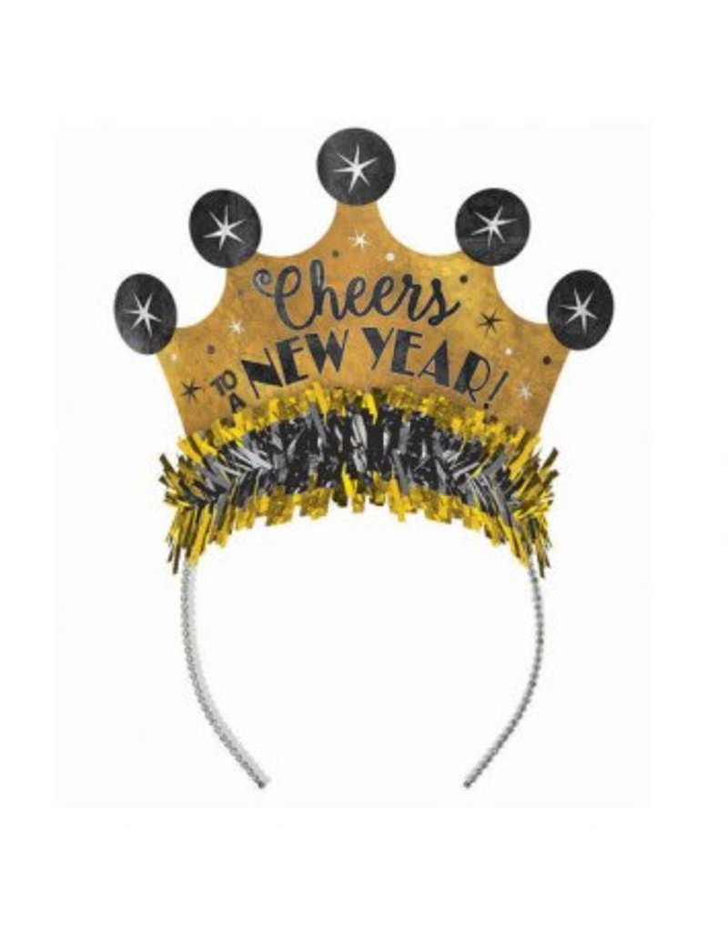 """Cheers to a New Year"" Prismatic Tiara - Black, Silver, Gold"