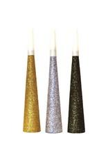 Glitter Paper Horn - Black, Silver & Gold