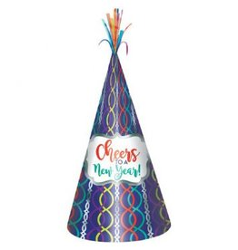 Cheers to A New Year Cone Hat - Jewel Tone