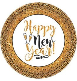 "Gold Glitter New Year Round Plates, 7"" (18)"