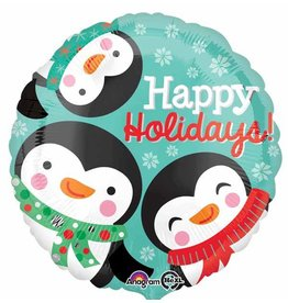 Happy Holidays Penguin Mylar Balloon