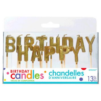 Happy Birthday Glitter Pick Candles Gold