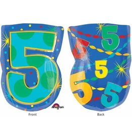"#5 Multicolour Shape 18"" Mylar Balloon"