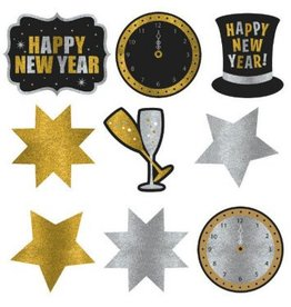 New Year's Glitter Paper Assorted Cutouts