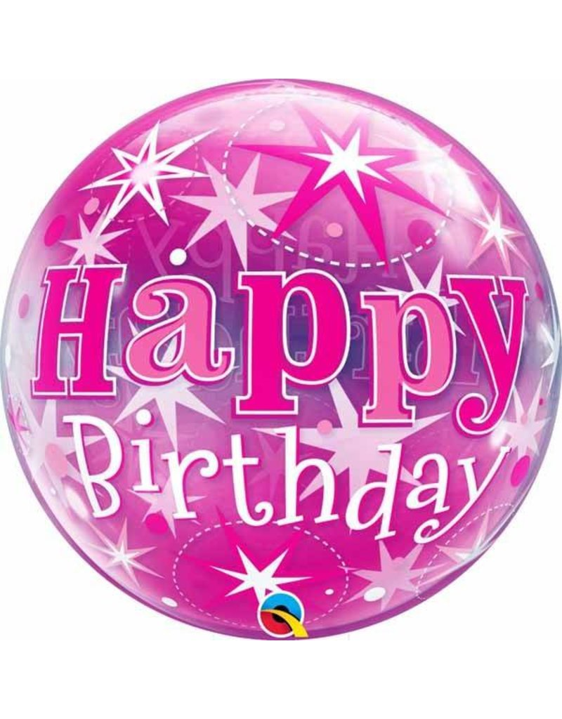 """Birthday Pink Starburst 22"""" Bubble Balloon"""