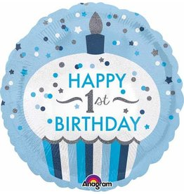 "1st Birthday Cupcake Blue 18"" Mylar Balloon"