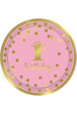 "1st Birthday Girl Metallic Round Plates 7"" (8)"