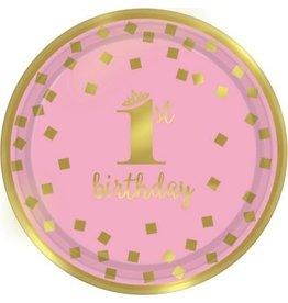 "1st Birthday Girl Metallic Round Plates 9"" (8)"