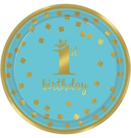 "1st Birthday Boy Metallic Round Plates 9"" (8)"