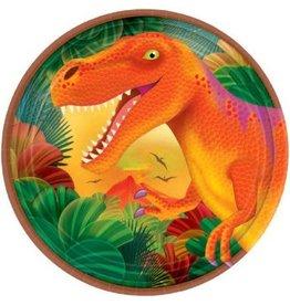 "Prehistoric Dinosaurs Metallic Round Plates 7"" (8)"