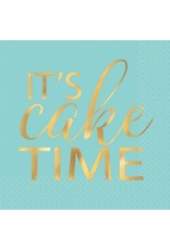 """It's Cake Time"" Beverage Napkin Hot-Stamped (16)"