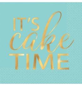 """It's Cake Time"" Beverage Napkin Hot-Stamped (16)"