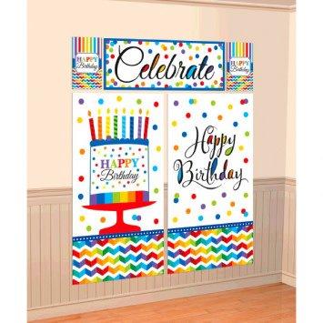 Bright Birthday Scene Setters Wall Decorating Kit