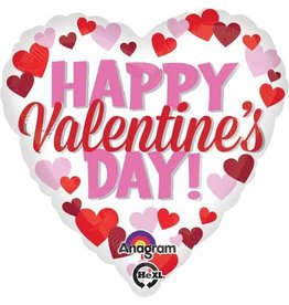 Pink & Red Valentine Day Mylar Balloon