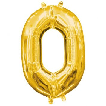 "Air-Filled Number ""0""- Gold 16"" Balloon (Will Not Float)"