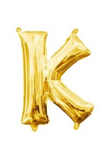"Air-Filled Letter ""K""- Gold 16"" Balloon (Will Not Float)"